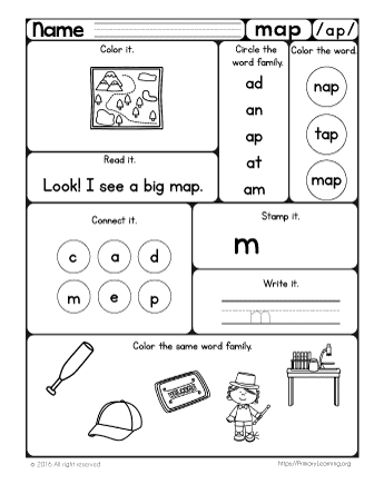 Map Worksheet | The -ap Word Family | PrimaryLearning.org