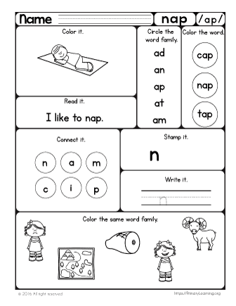 Nap Worksheet | The -ap Word Family | PrimaryLearning.org