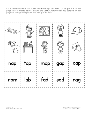 Cut and Paste -ap Word Family Words | PrimaryLearning.org