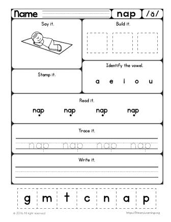 Number Names Worksheets short i sound worksheets : Nap Worksheet | Learn Short a Sound | PrimaryLearning.org