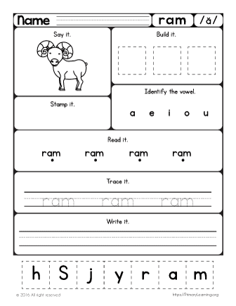 Ram Worksheet   Learn Short a Sound   PrimaryLearning.org