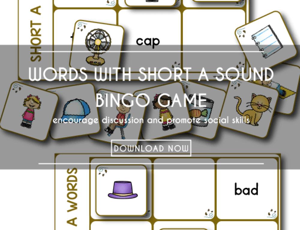 Printable Bingo Game   Short a Word Families