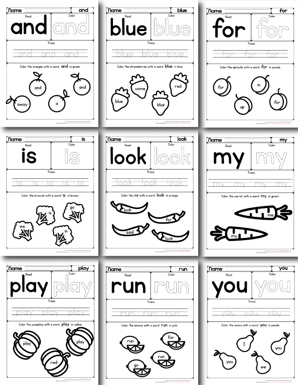 pre primer sight words