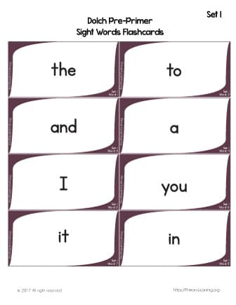 sight words for preschoolers flashcards