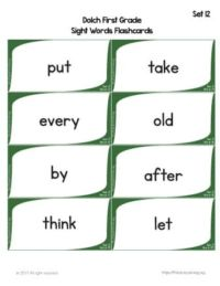 printable sight word flashcards for preschool