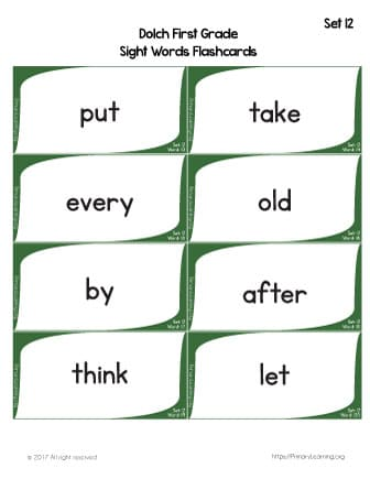 picture about Printable Sight Word Flashcards With Pictures named Dolch Sight Terms Flashcards Checklist 12