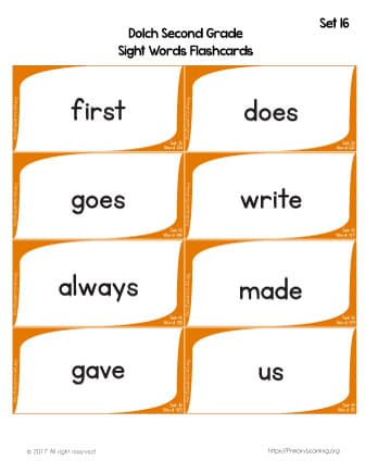 Dolch Sight Words Flashcards List 16 Free Worksheets