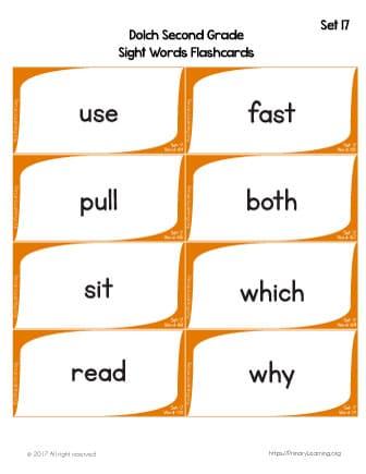 sight word flashcards printable