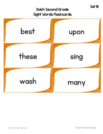 Dolch Sight Words Flashcards | List 18 | PrimaryLearning org