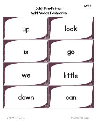 free sight word flashcards