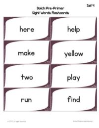 sight word flashcards free