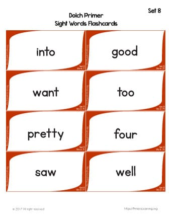 Dolch Sight Words Flashcards | List 8 | PrimaryLearning org