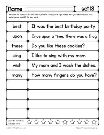 most common sight words