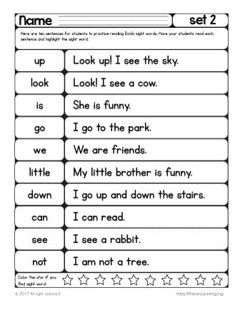 reading sight words list