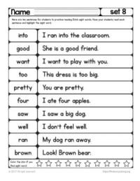 1st grade dolch words worksheets