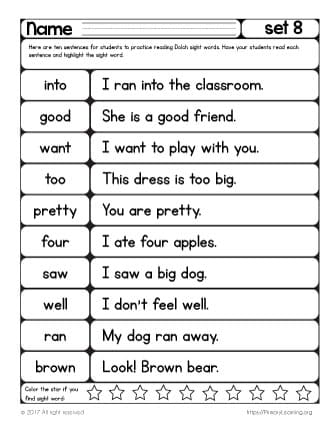 image regarding Sight Words for 1st Grade Printable List called Sight Terms Looking at Coach Checklist 8