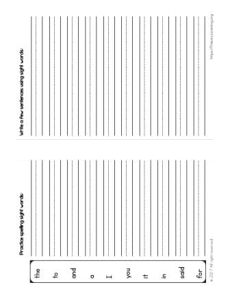 Sight Words Spelling Practice List 1 Free Worksheets