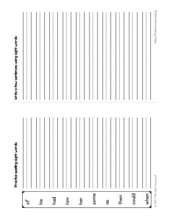 spelling sight words activities