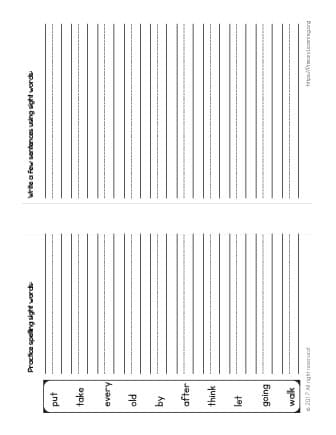 spelling sight words worksheets