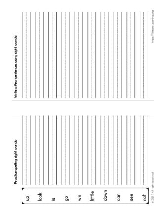 sight word spelling worksheets