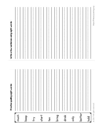 high frequency words printables