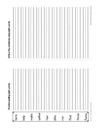 kindergarten spelling list