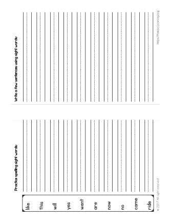 spelling list for kindergarten and first grade