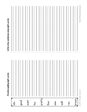 spelling words for kindergarten students