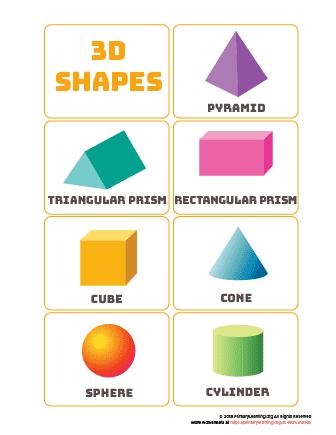 3d shapes word mat