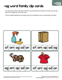 ag word family flashcards