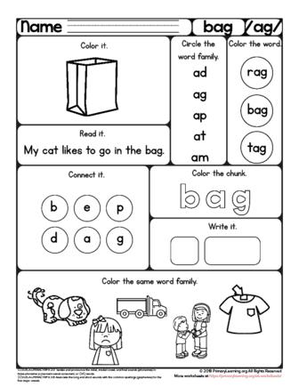 free bag worksheet the ag word family. Black Bedroom Furniture Sets. Home Design Ideas