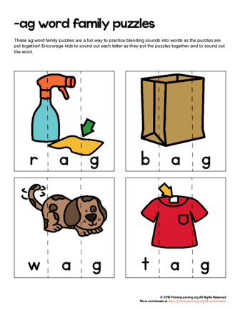 ag word family puzzles