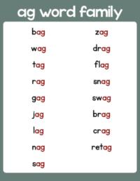 ag word family list