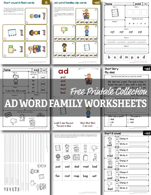 photograph about Word Family Printable titled No cost Advert Phrase Spouse and children Worksheets - Homeschool Giveaways
