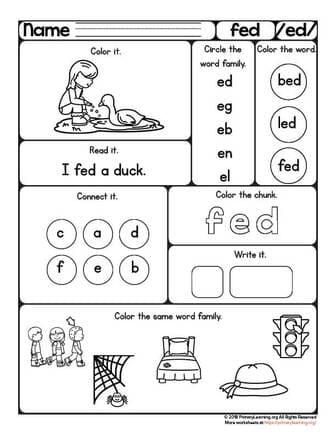 fed short sound worksheet