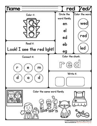 Red Worksheet Ed Word Family Free Worksheets Primarylearning