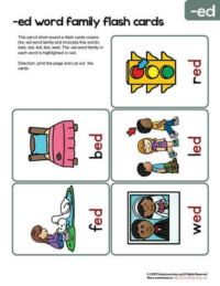 ed word family flash cards