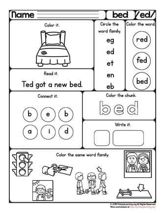 bed word family worksheet