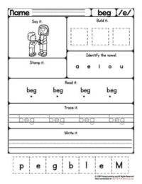 eg word family worksheet