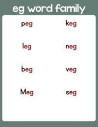 eg word family list