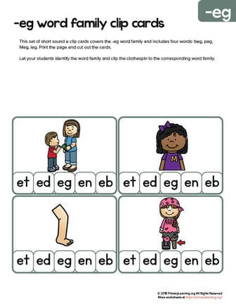 eg word family clip cards