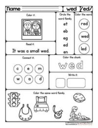 ed word family printable