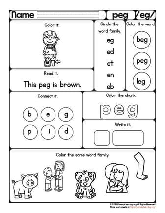 Free Word Families Worksheets Printables