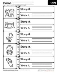 en word family worksheet