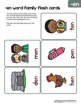 en word family flash cards
