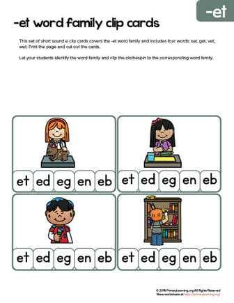 et family words clip cards