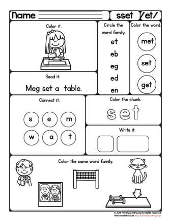 SET Worksheet | ET Word Family | PrimaryLearning.org