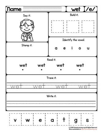 wet worksheet