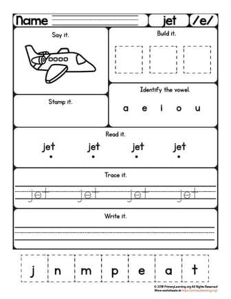 jet worksheet