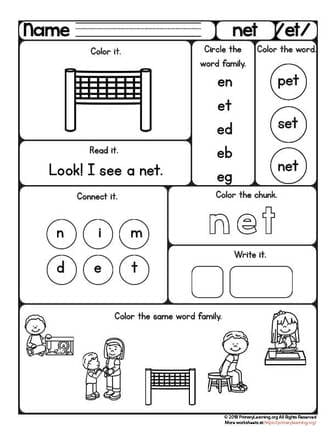 NET Worksheet | ET Word Family | PrimaryLearning.org